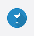 cocktail Flat Blue Simple Icon with long shadow vector image vector image