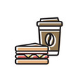 coffee drink cup with cap and sandwich vector image vector image
