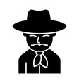cowboy icon black sign on vector image
