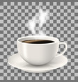cup on saucer hot coffee with steam vector image vector image