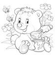 cute bear sits among flowers and eats honey vector image vector image