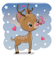 cute deer with butterfly on a stars background vector image