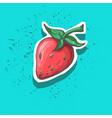 cute strawberry with seeds hand drawn sticker vector image vector image