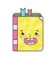 doodle kawaii happy book school utensil vector image