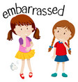 embarrassed girl on white background vector image vector image