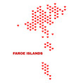 faroe islands map - mosaic of valentine hearts vector image vector image