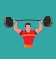 funny bodybuilder raises heavy barbell gym vector image