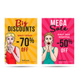 girl sale posters with discount and pop art vector image