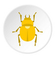 gold scarab beetle icon circle vector image vector image