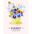 Greeting card with pansies vector image vector image