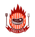 grill bar emblem template with roasted meat and vector image
