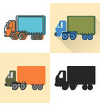 jumbo truck icon set in flat and line styles vector image vector image