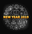 new year 2019 round creative vector image vector image