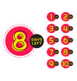 number days left counter in circular memphis vector image vector image