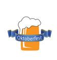 oktoberfest blue ribbon beer mug background vector image vector image