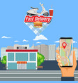 online shopping order and delivery with motorcycle vector image vector image