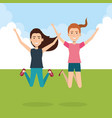 people celebrating in the field vector image