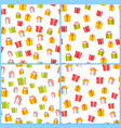 pictograph gift boxes picture collection on white vector image vector image