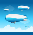 realistic 3d detailed dirigible fly card vector image