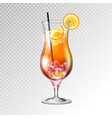 realistic cocktail tequila sunrise glass vector image vector image