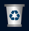 recycling bin icon in two color design style vector image