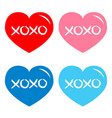 red blue pink heart icon set xoxo phrase sketch vector image vector image
