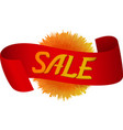 red ribbon with label sale vector image vector image