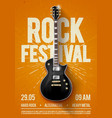 rock festival concert flyer or poster with guitar vector image