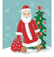 Santa Claus carries bag vector image