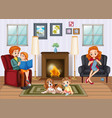 scene with people in family relaxing at home vector image