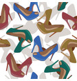 Seamless pattern with bright fashion shoes
