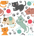 seamless pattern with cheerful cats vector image vector image
