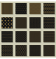 Set of 16 abstract gold geometric patterns vector image