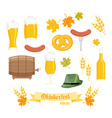 set of detailed flat oktoberfest objects - glass vector image