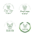 Set of logos with french bulldog and twigs vector image vector image