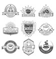 set of nine coffee logo templates coffee labels vector image vector image
