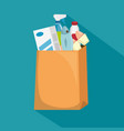 shopping bag with supermarket products vector image vector image