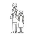silhouette caricature family mother and father vector image vector image