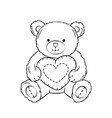 teddy bear toy with heart coloring book vector image vector image