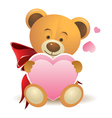 Teddy bear with pink heart vector image vector image