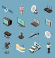 telecommunication isometric icons set vector image