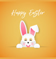 the easter bunny looks out of the hole vector image