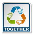 together circular hands sticker vector image vector image