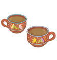 two clay cups vector image vector image