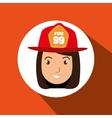 woman firewoman helmet icon vector image vector image