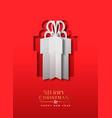 year papercut gift box greeting card vector image