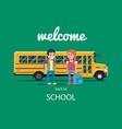 children get on school bus flat vector image
