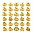 Halloween pumpkin emoji emoticons vector image