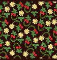 Seamless of flowers berries and leaves a vector image