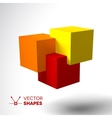 3D logo with bright colored cubes vector image